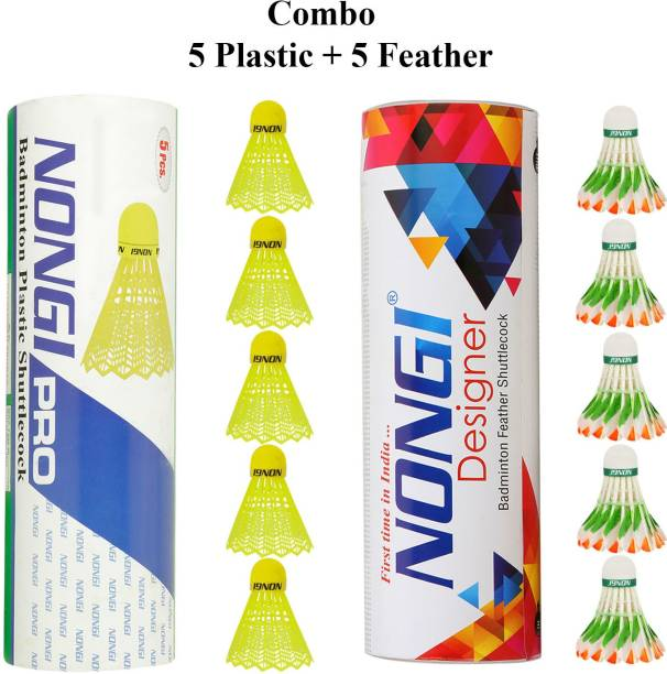 Nongi Badminton shuttle (D5 & Pro) combo pack of 10 for indoor outdoor sport Plastic & Feather Shuttle  - Yellow