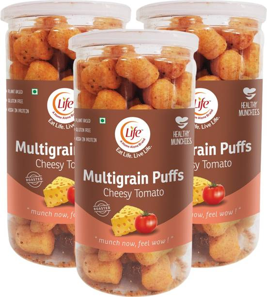 Life Roasted Multigrain Puffs- Combo pack of 3 (80g Each) - Super Grains Healthy Snack - Quinoa/ Corn/ Jowar/ Oats/ Rice - Multigrain
