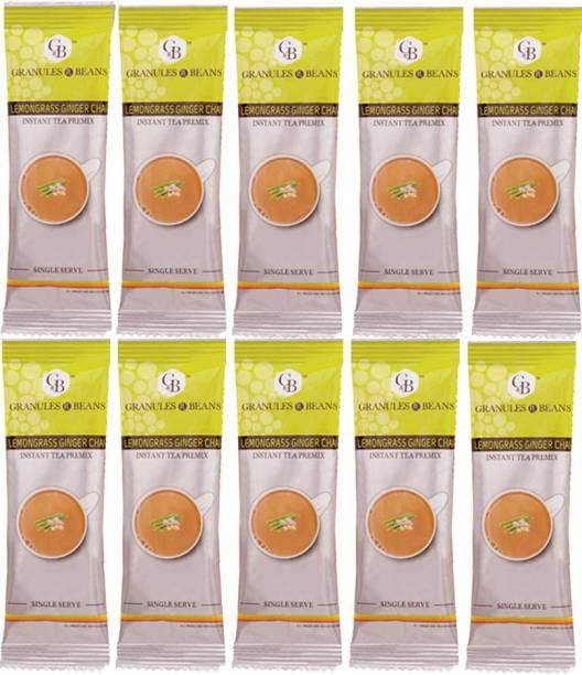 Granules and Beans Lemongrass Ginger Tea Instant Premix - Value Pack of 50 Serving Tea   Lemongrass Adrak Chai Instant Pemix   50 Sachets of 14gms Each Instant Chai for Immunity & Freshness Lemon Grass, Ginger Instant Tea Pouch