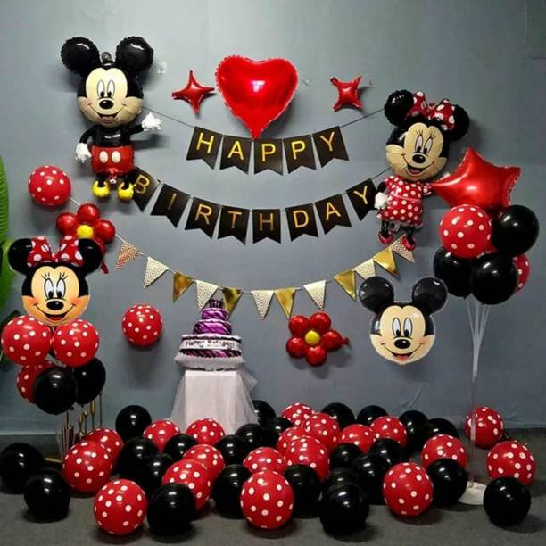 Nayugic Printed Mickey Mouse Theme Set of 105 Red and Black Dotted Balloons for Birthday Parties Decoration Balloon