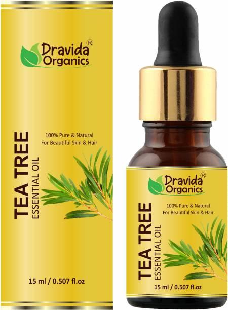 Dravida Organics Tea Tree Oil for Skin, Hair and Acne care - Tea-Tree Essential Oil