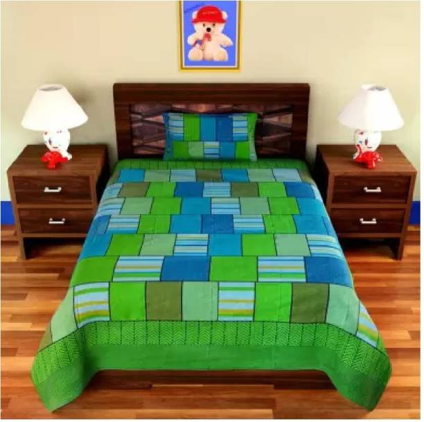 Decor Home Readiness 140 TC Polycotton Single Checkered Bedsheet