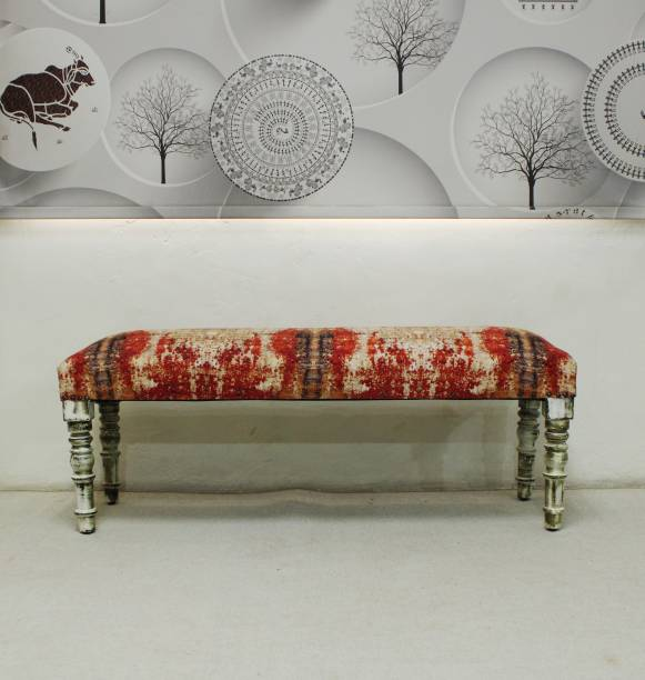 Aadhar Wooden Upholstery Bench Fabric 2 Seater