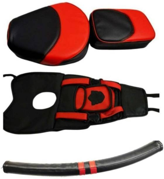 KOHLI BULLET ACCESSORIES Seat Cover+Tank Cover + Back Rest Foam Combo Set Red & Black For Royal Enfield Classic 350/500 , Classic Split Bike Seat Cover For Royal Enfield Classic Chrome, Classic 350, Classic Desert Storm, Classic, Classic 500