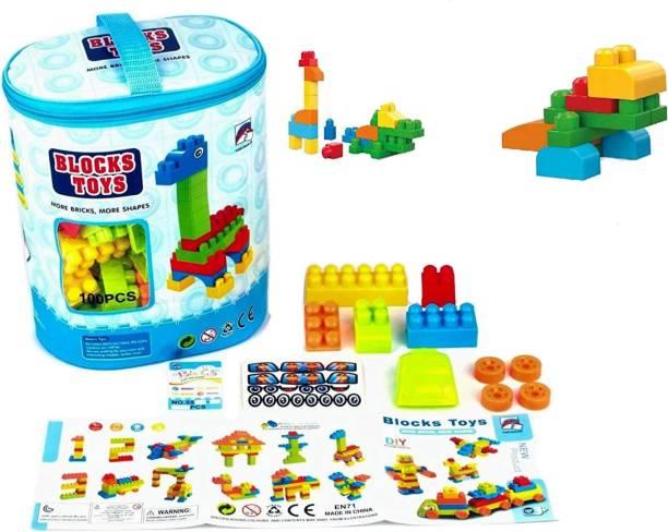 pari pari Multicolored Educational Building Blocks with Bag Packing for kids (100 Pcs)