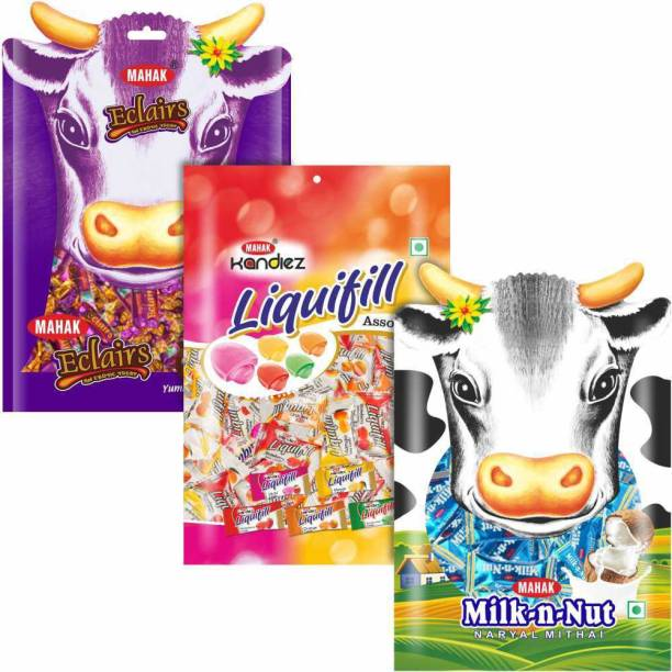 Mahak Toffee & Candy Designer Pouches | Eclairs, Liquifill, Milk-n-Nut Mix, Coconut Toffee