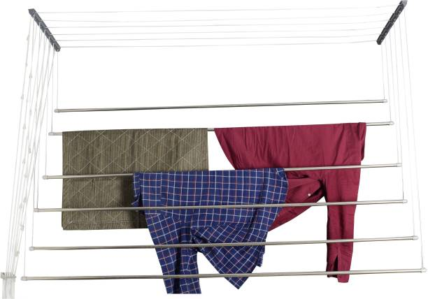 SMB Space Maker Steel Ceiling Cloth Dryer Stand Stainless Steel Ceiling Cloth Hanger/Rack Roof Mount Cloth Dryer 7 Feet 6 Pipes ( made in india) For Balcony, Apartments, Utility Area
