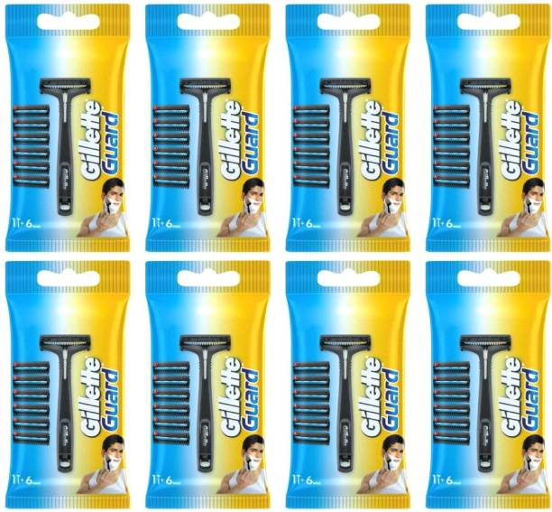 GILLETTE Combo Guard One Razor & Cartridge 6 pcs in A pack (Pack of 8 )by Rmr JaiHind