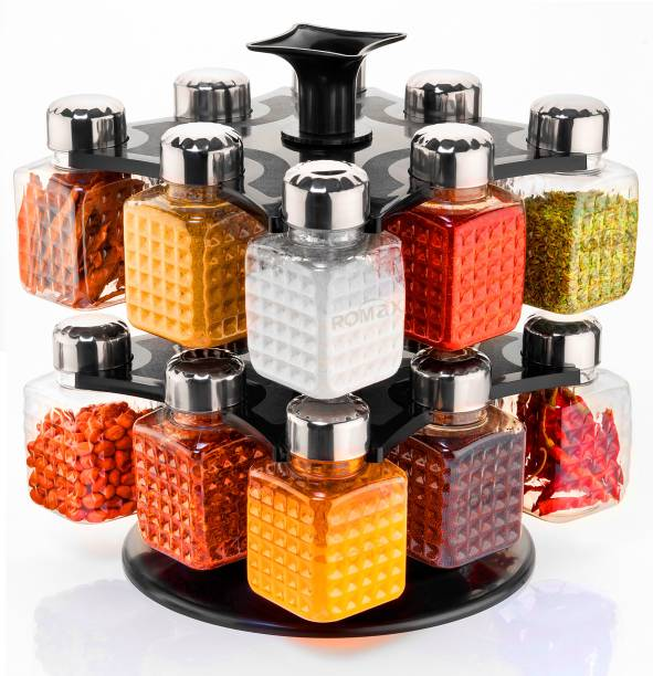 GLAZIO 360 Degree Revolving Woman's 1st Choice New Premium Quality Square Shape Transparent Spice Rack, Masala Box, Dray fruit container Fridge Container, Tea Coffee & Sugar Container, Spice Box - 250 ml 16 Jar Spice Container With Steel Cap Black Color 1 Set 1 Piece Spice Set