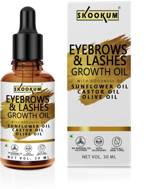 SKOOKUM Eyebrow & Lash Growth Serum - EyeBrow & Eyelash Growth Oil Serum With Castor Oil, Almond Oil & Vitamin E 30 ml