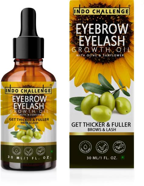INDO CHALLENGE Eyebrow & Eyelashes Growth Oil-Enriched with Natural Ingredients Growth and Care Oil For Specially Women & Girls, Eyebrow & Eyelashes Growth Oil-Enriched with Natural , Premium Eyebrow & Eyelash Growth Oil 30 ml