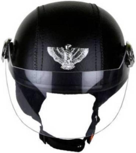 Friends Mart BLACK LEATHER HELMET CAP Motorbike Helmet