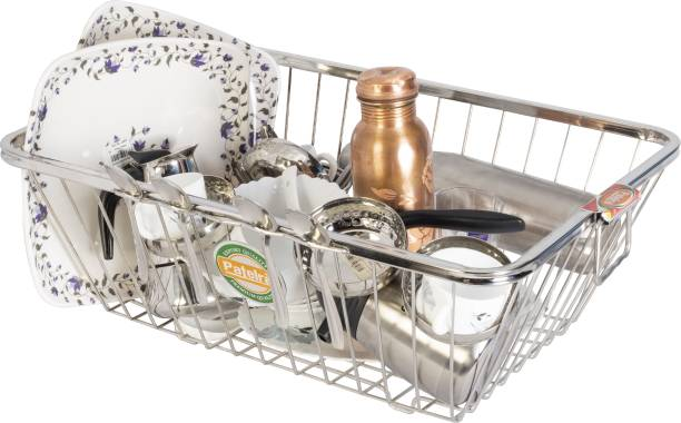 Patelraj Pure Stainless Steel Kitchen Basket/ Kitchen Stand/ Dish Stand Dish Drainer Kitchen Rack