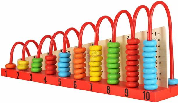 ARONET Wooden Calculation Shelf | Abacus Counting Addition Subtraction | Maths Learning Early Educational Kit Toy for Kids 3+ Years (Calculation Shelf) with 55 Colorful Beads for Kids
