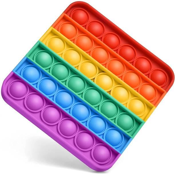 VIBOTON Pop It Fidget Toys, Push Pop Bubble Fidget Sensory Toy,Autism Silicone Stress Relief Toy,Great Fidget Toy Sensory Toys Novelty Gifts for Girls Boys Kids Adults (Rainbow Square) Bath Toy
