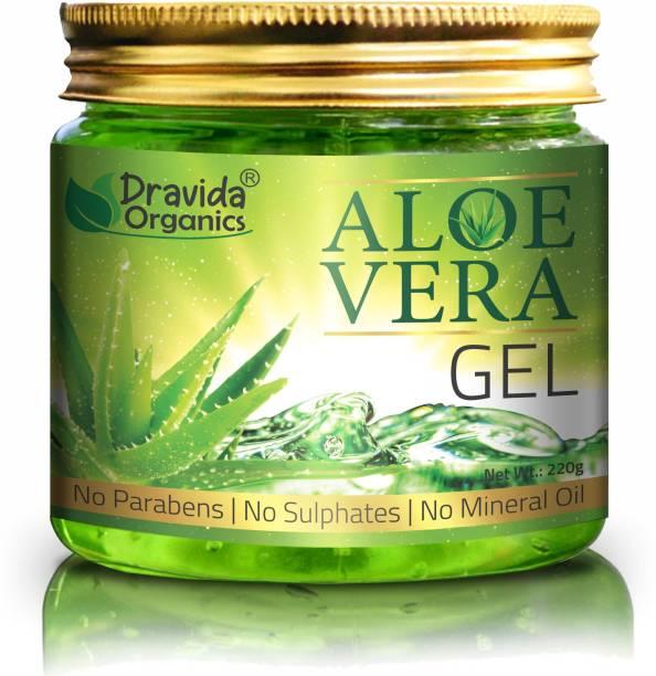 Dravida Organics Pure Aloe Vera Gel (220 Gram ) - Ideal for Skin Care, Face, Acne , Hair Treatment