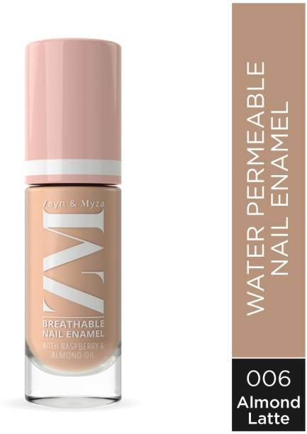 ZM Zayn & Myza Breathable Nail Enamel With Raspberry & Almond Oil - Fast Drying, Glossy Finish, Free From Toxins - Almond Latte