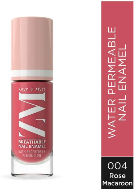 ZM Zayn & Myza Breathable Nail Enamel With Raspberry & Almond Oil - Fast Drying, Glossy Finish, Free From Toxins - Rose Macaroon