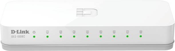 D-Link DES-1008C 8-Port 10/100 Desktop Switch    Stylish and Compact Design    Unmanaged 10/100 Mbps Switch for SOHO and Small and Medium Businesses Network Switch