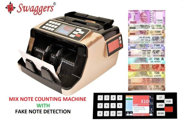 SWAGGERS Gold Value Updated Mix Note Value Counting Machine for New Indian Currency with Fake Note Detection Note Counting Machine