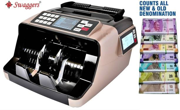 SWAGGERS Loose Mix Note Value Counting Machine for Indian Currency(10,20,50,100,200,500,2000) with Fake Note Detector Heavy Duty Value Money Counting Machine Note Counting Machine
