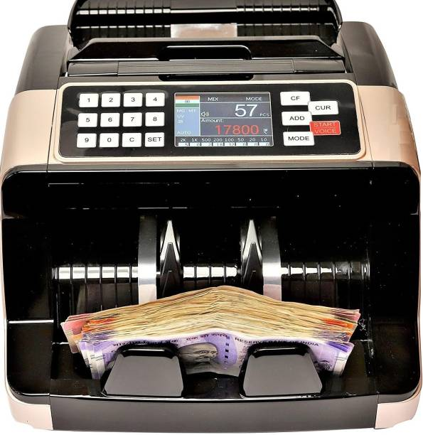 Security Store Gold Value Updated Mix Note Value Counting Machine for New Indian Currency with Fake Note Detection Note Counting Machine