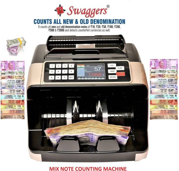 SWAGGERS Mix Note Value Counting Machine for Indian Currency(10,20,50,100,200,500,2000) with Fake Note Detector Heavy Duty Value Money Counting Machine Note Counting Machine