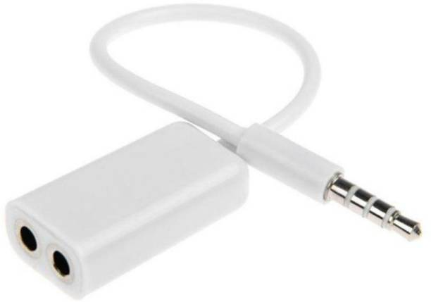 introit White 3.5mm 1 Male to 2 Female Stereo Headphone Earphone Jack Splitter Audio Adapter Cable Phone Converter (Android, iOS) Phone Converter