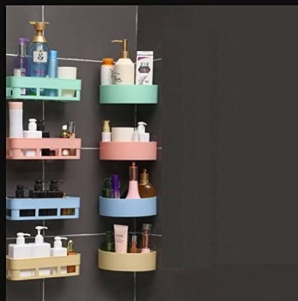 QXORE Combo of 8 Bathroom Shelf Wall Shelves ABS Plastic Multipurpose Kitchen Bathroom Wall Holder Storage Rack Shelf (25 x 11 x 7 cm,) 4 Bathroom Shelf + 4 Corner Triangle Shelf Plastic Wall Shelf