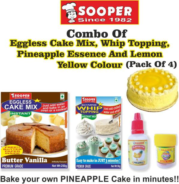 SOOPER CAKE MIX + WHIPPING CREAM MIX + PINEAPPLE ESSENCE + YELLOW COLOUR Topping Powder