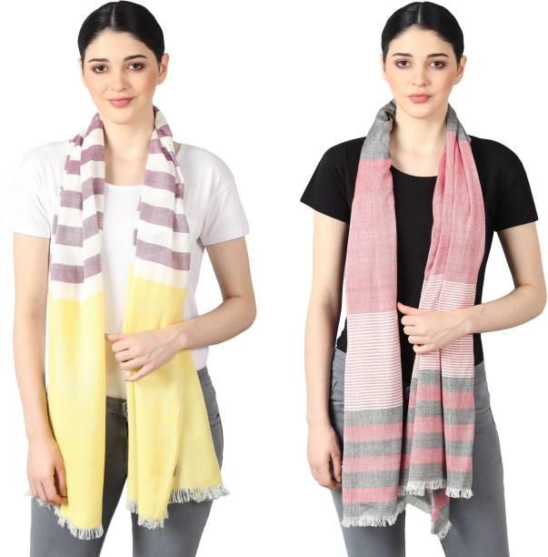 FLYER Woven, Striped, Self Design, Solid Viscose, Cotton Viscose Blend Women Stole, Scarf, Fancy Scarf