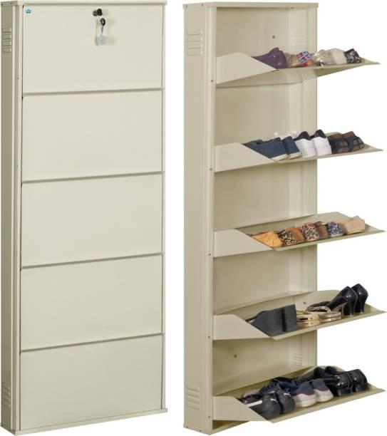 Delite Kom 24 Inches wide Five Door Powder Coated Wall Mounted Metallic Ivory Metal Shoe Rack