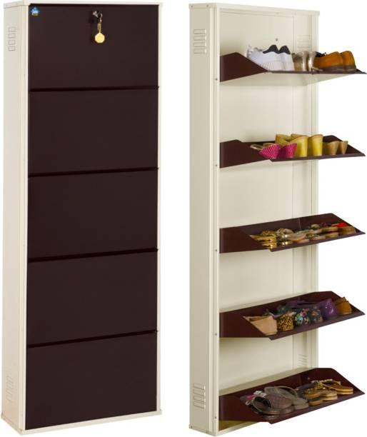 Delite Kom 24 Inches wide Five Door Powder Coated Wall Mounted Metallic Ivory Coffee Metal Shoe Rack