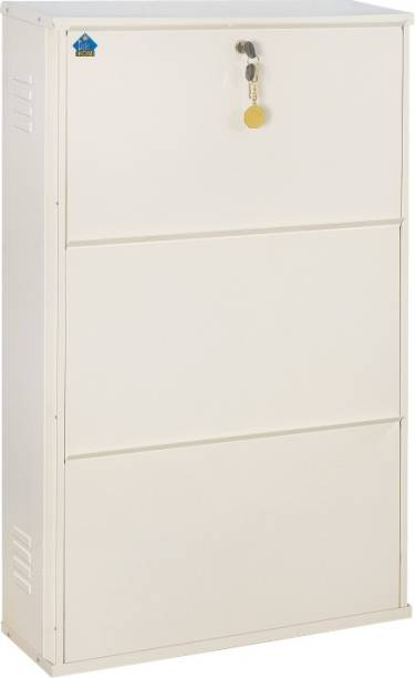 Delite Kom 24 Inches wide Jumbo Three Door Double Decker Powder Coated Wall Mounted Shoe Rack Metal Shoe Rack