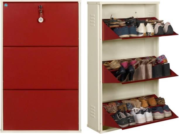 Delite Kom 24 Inches wide Three Door Double Decker Powder Coated Wall Mounted Metallic Ivory Brick Red Metal Shoe Rack