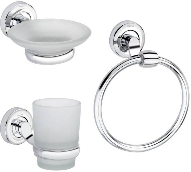 aligarian Steel Bathroom Accessories Set with Towel Ring, Saop Dish, Tumblr Holder (Pack of 3)