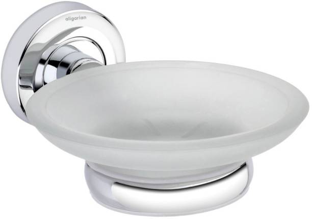 aligarian Stainless Steel and Glass Bathroom Wall Mounted Soap Dish with SS Holder