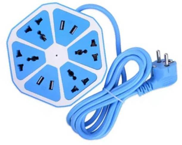 BUY SURETY New Arrival High Quality Multiplug Sockets for Multiple Devices Use for Home/Office, Hexagon Socket Multipurpose Extension Board with 4 USB charging point 4 Socket 4  Socket Extension Boards