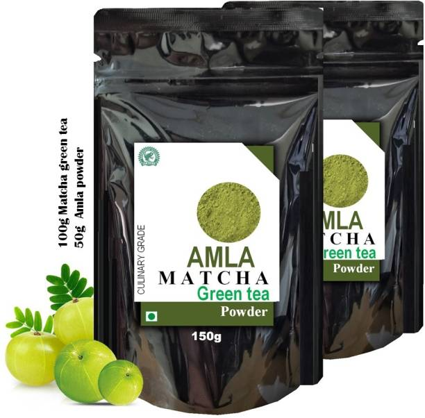 dophie Amla Matcha Green Tea Powder 150g [PACK-2] Culinary Grade - Powerful antioxidants from Amla and Matcha green tea Powder, with overflowing benefits, May help for fast weight loss, boost metabolism, Immunity, reduce acidity and more . The Healthiest tea. Amla Matcha Tea Pouch