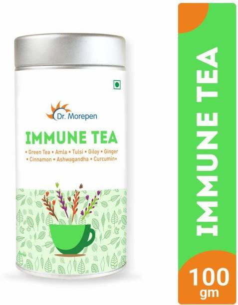 Dr. Morepen Immune Tea   Immunity Booster Tea With Mint   For Body Detox, Weight Management & Stress Relief - 100g Mint Tea Blend Tin