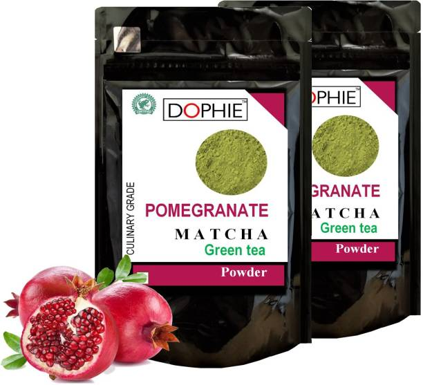 dophie Pomegranate Matcha Green Tea Powder 150g [PACK-2] Culinary Grade - Rich in antioxidants help two time fast weight loss, boost metabolism and Immunity. Pomegranate Matcha Tea Pouch