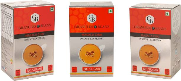 Granules and Beans Masala Tea Instant Premix With No Sugar (Pack of 3)   Masala Chai with 0% Sugar   20 Sachets of 8 gms Each, Instant Chai with 100% Natural Spices & Extracts Spices Instant Tea Box