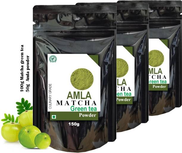 dophie Amla Matcha Green Tea Powder 150g [PACK-3] Culinary Grade - Powerful antioxidants from Amla and Matcha green tea Powder, with overflowing benefits, May help for fast weight loss, boost metabolism, Immunity, reduce acidity and more . The Healthiest tea. Amla Matcha Tea Pouch