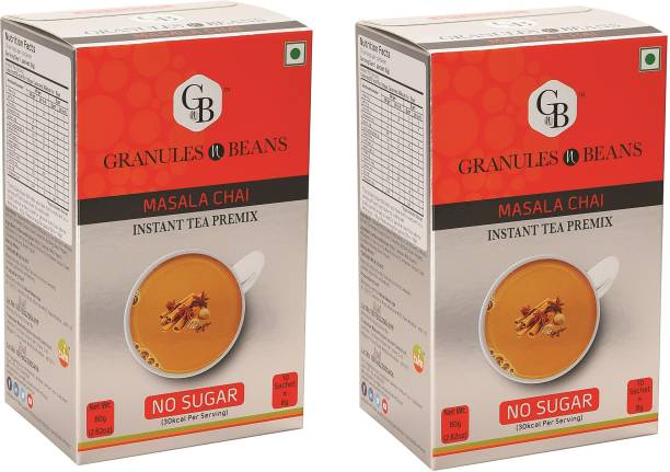 Granules and Beans Masala Tea Instant Premix With No Sugar (Pack of 2)   Masala Chai with 0% Sugar   20 Sachets of 8 gms Each, Instant Chai with 100% Natural Spices & Extracts Spices Instant Tea Box