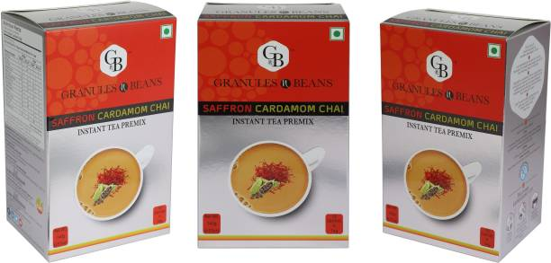 Granules and Beans Saffron Cardamom Tea Instant Premix (Pack of 3)   Kesar Elaichi Chai Premix for Immunity & Freshness   30 Sachtes of 14gms Each instant Chai Saffron, Cardamom Instant Tea Box