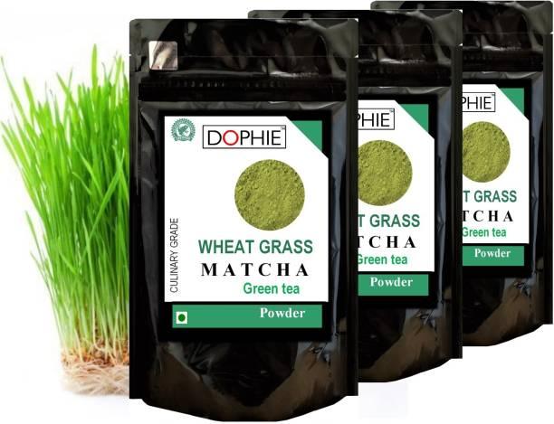 dophie Wheat grass Matcha green tea powder 150g [Pack-3]- Super Power Matcha Powder -Nutrient Rich, Detox, Essential Amino Acids, Minerals, Antioxidants, fast weight loss, boost metabolism and Immunity. Coffee /Tea Alternative. Herbs Matcha Tea Pouch