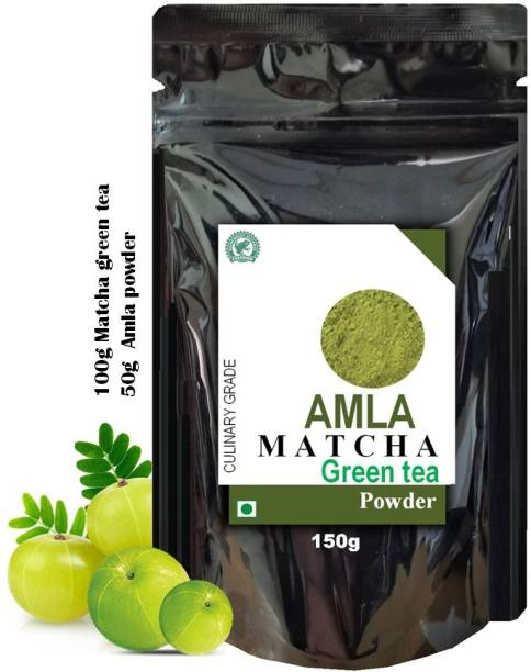 dophie Amla Matcha Green Tea Powder 150g [PACK-1] Culinary Grade - Powerful antioxidants from Amla and Matcha green tea Powder, with overflowing benefits, May help for fast weight loss, boost metabolism, Immunity, reduce acidity and more . The Healthiest tea. Amla Matcha Tea Pouch