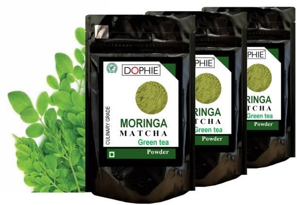 dophie Moringa Matcha Green Tea Powder 150g [PACK-3]Culinary Grade - Powerful antioxidants of Matcha green tea Powder & Moringa leaves powder help fast weight loss, boost metabolism and Immunity. one of the most powerful super food. Herbs Matcha Tea Pouch