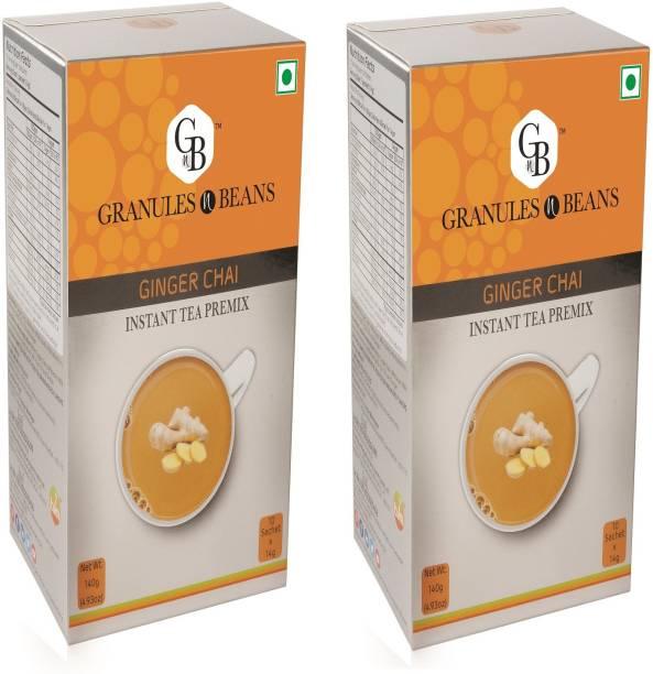 Granules and Beans Ginger Tea Instant Premix (Adrak Chai) - Pack of 2   20 Sachets of 14gms Each Instant Chai for Immunity & Freshness Ginger Instant Tea Box