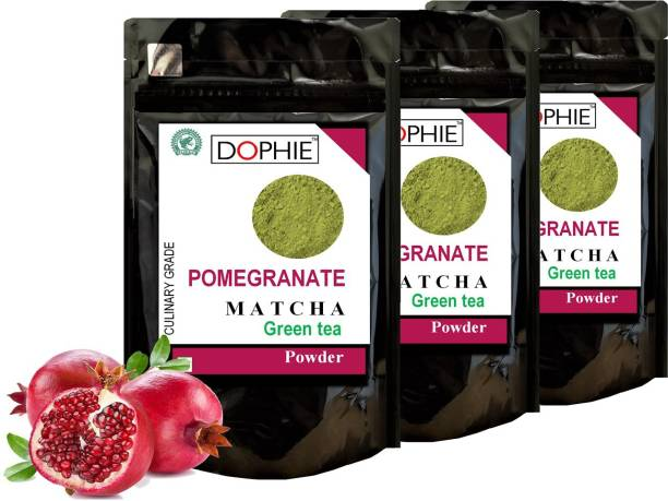 dophie Pomegranate Matcha Green Tea Powder 150g [PACK-3] Culinary Grade - Rich in antioxidants help two time fast weight loss, boost metabolism and Immunity. Pomegranate Matcha Tea Pouch